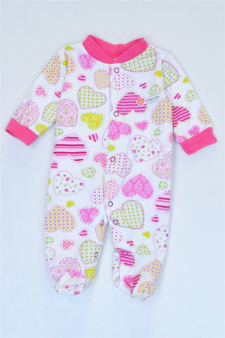 Carter's White & Pink Heart Footed Onesie Girls N-B