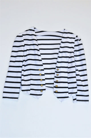 Unbranded Black & White Striped Cropped 3/4 Sleeve Light Jacket Women Size 8