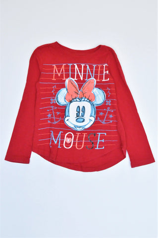 Disney Red Minnie Mouse Long Sleeve T-shirt Girls 7-8 years