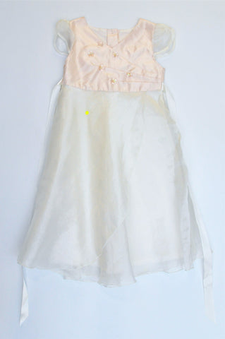 Woolworths White & Peach Metallic Flower Detail Capped Sleeve Dress Girls 4-5 years