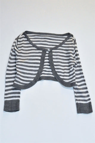 Woolworths Grey & White Striped Long Sleeve Cardigan Girls 5-6 years