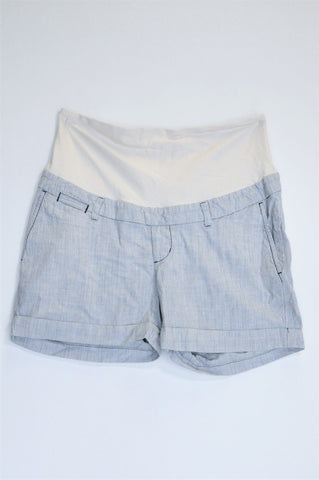 H&M White & Blue Pin Stripe White Waistband Maternity Shorts Size 16