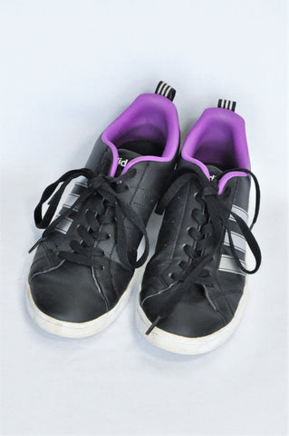 Adidas Black Purple & White Lace Up Shoes Girls Youth Size 6