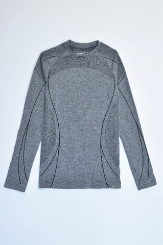 Maxed Grey & Black Line Detail Long Sleeve Seamless Sports Top Girls 9-10 years