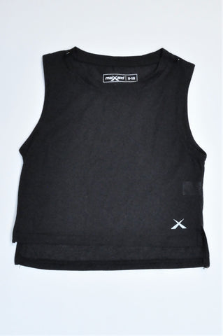 Maxed Black Sleeveless High Neck Cropped Sports Top Girls 9-10 years