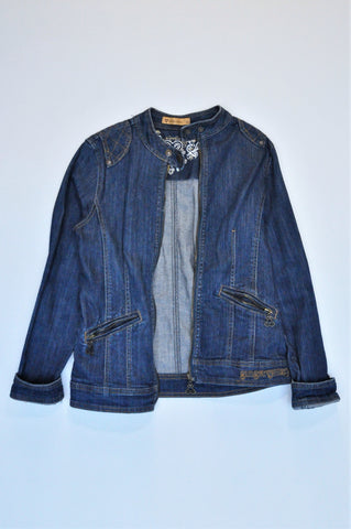 Ginger Mary Quilted Shoulder Detail Denim Zip Jacket Women Size 8