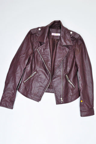 Legit Purple Faux Leather Jacket Women Size 8
