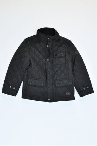 Firetrap Black Quilted Three Pocket Detail Jacket Unisex 5-6 years