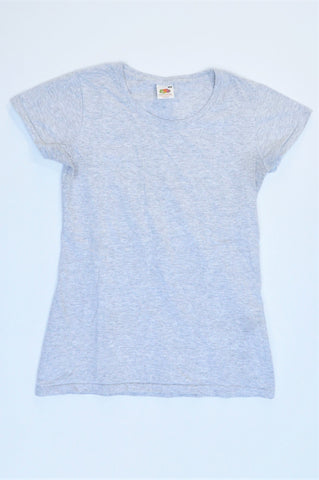 Fruit Of The Loom Grey Melange Basic T-shirt Women Size XS