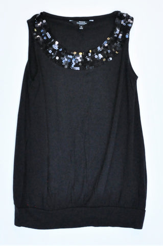 Debenhams Black Sequin Detail Sleeveless Top Women Size 6