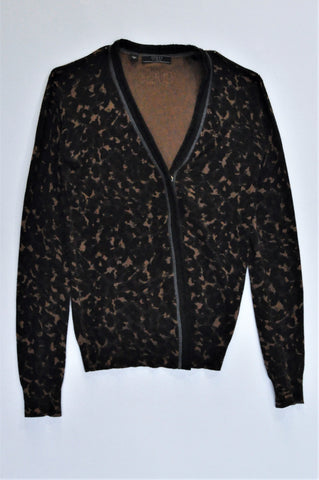 Guess Black & Brown Clasp Button Cardigan Women Size M