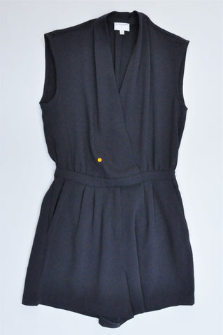 Witchery Charcoal Drape V Neck Romper Women Size 8