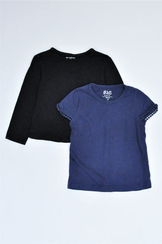 Pick 'n Pay Pack Of 2 Navy Short Sleeve & Black Long Sleeve T-Shirts Girls 2-3 years
