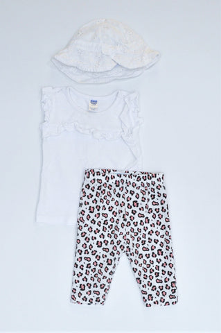 Pep Pack White Hat, White Top & Leopard Print Leggings Outfit Girls 6-12 months