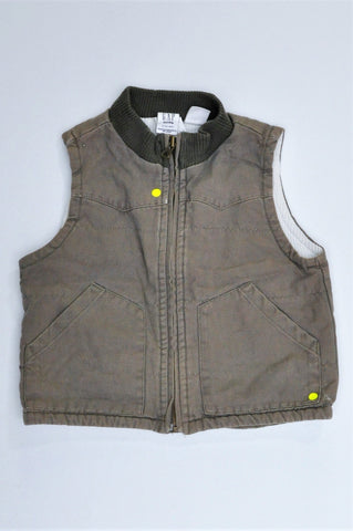 GAP Army Green Sleeveless Ribbed Collar Jacket Boys 1-2 years