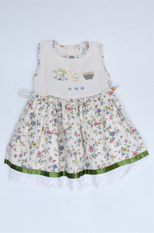Unbranded Beige Floral Side Tie Sleeveless Pleated Dress Girls 18-24 months