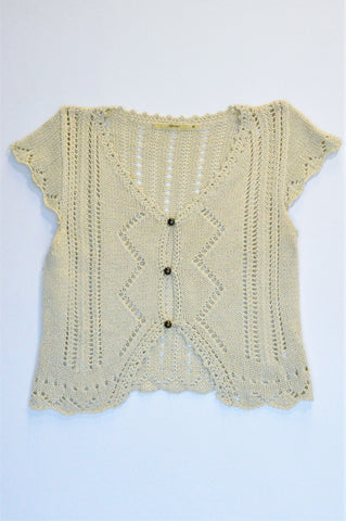 Spirit Cream Knitted Capped Sleeve Button Up Cardigan Women Size M