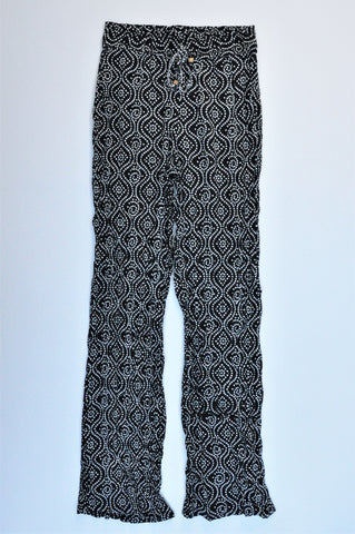 Alisha & Chloe Black & White Spotted Drawstring Flowy Pants Women Size 6