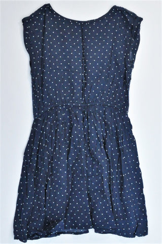 Here + There Navy Polka Dot Dress Girls 9-10 years
