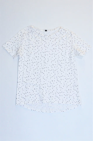 Unbranded White With Black Polka Dots T-shirt Girls 9-10 years