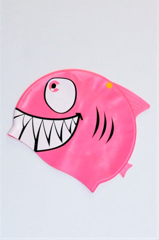Unbranded Pink Shark Swim Cap Girls 7-10 years