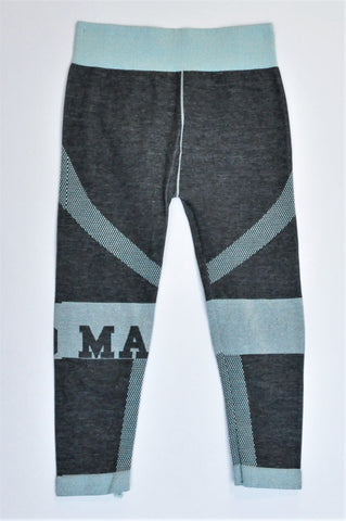 Maxed Gery & Blue Banded Seamless Sports Leggings Girls 9-10 years