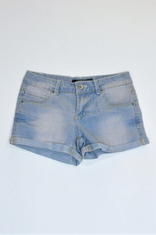 New Wave Light Blue Denim Stretch Shorts Girls 9-10 years