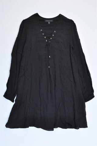 Forever New Black Long Sleeve Criss Cross Neck Detail Dress Women Size 6