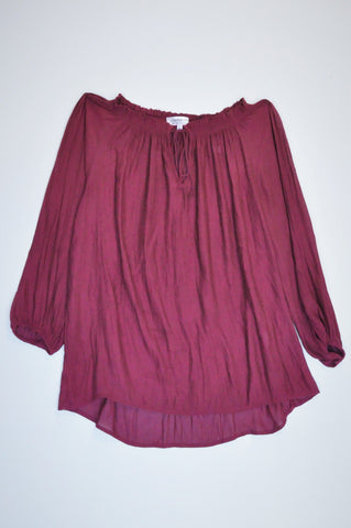 Cotton On Maroon Necktie Sheer 3/4 Sleeve Blouse Women Size XS
