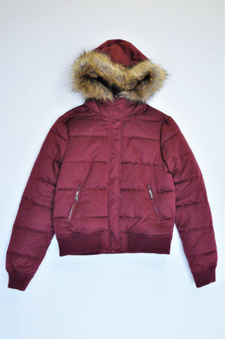 Zara Burgundy Faux Fur Hooded Puffer Jacket Women Size M