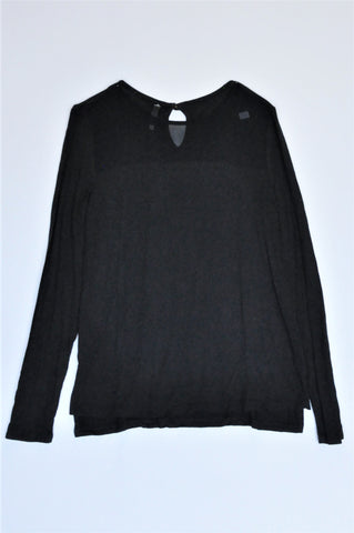 Woolworths Black Long Sleeve Mesh Neckline T-shirt Women Size XS