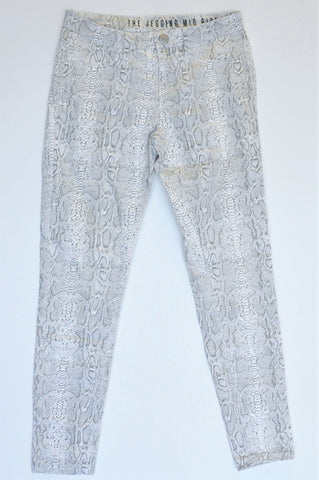Unbranded White & Grey Snakeskin Mid Rise Jeans Women Size 8