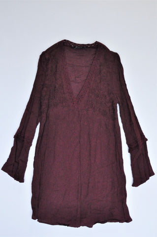 Cotton On Maroon Floral Embroidered Long Sleeve V Neck Crinkled Dress Women Size XS