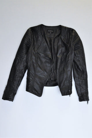 Truworths Black Faux Leather Jacket Women Size 6
