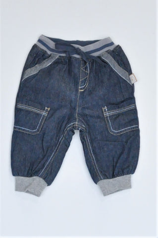 Ackermans Navy & Grey Trim Banded Pants Boys 3-6 months