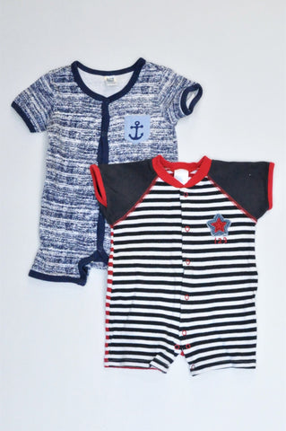 Ackermans Pack Of 2 Navy Anchor & White And Navy Striped Star Rompers Boys 3-6 months