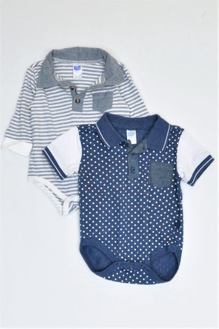 Ackermans Pack Of 2 Navy Polka Dot & White And Blue Striped Long Sleeve Baby Grow Boys 3-6 months