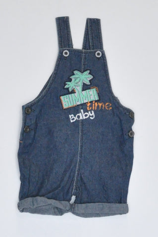 Woolworths Navy Summer Time Baby Lightweight Dungaree Boys 3-6 months