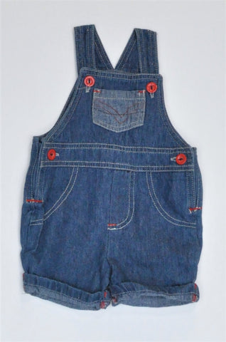 Woolworths Navy With Red Buttons Dungaree Boys 0-3 months