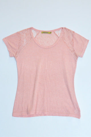 Inwear Peach Lace Shoulder Inset T-Shirt Women Size 12