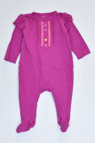 Woolworths Purple Textured Flower Frill Detail Long Sleeve Footed Onesie Girls 3-6 months