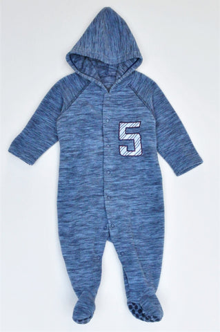 Woolworths Blue 5 Long Sleeve Footed Onesie Boys 3-6 months