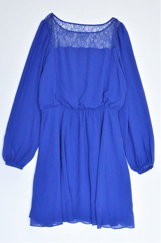 Forever New Royal Blue Lightweight Long Sleeve Dress Women Size 10