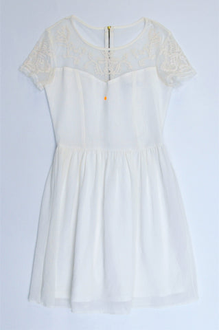 Woolworths White Lightweight Sheer Top & Sleeve Detail Dress Women Size 8