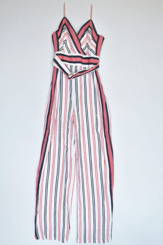 Forever New White, Peach & Black Pinstripe With Belt Jumpsuit Women Size 8