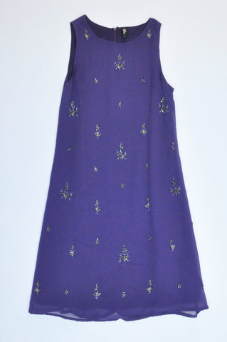 Foschini Purple Beaded Mesh Overlay Sleeveless Dress Women Size 8