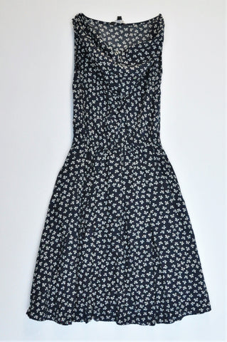 Truworths Navy & White Bow Patterned Cowl Neck Dress Women Size 8