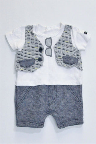 Woolworths White & Navy Sunglass Graphic Romper Boys 3-6 months