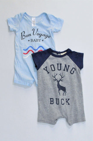 Pick 'n Pay Pack Of 2 Grey Young Buck & Light Blue Bon Voyage Rompers Boys 0-3 months
