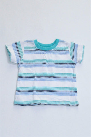 Woolworths White With Blue Stripes & Trim T-shirt Boys 3-6 months